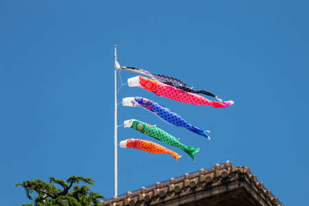 Japanese koinobori flags for Childrens day on blue sky background Stock Photo