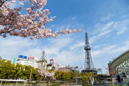 NAGOYA JAPAN - 12 April, 2016:Oasis 21 and TV Tower in Sakae. Oasis 21 is a modern facility located adjacent to Nagoya TV Tower in Sakae.,They are public location, no restrict in copy or use