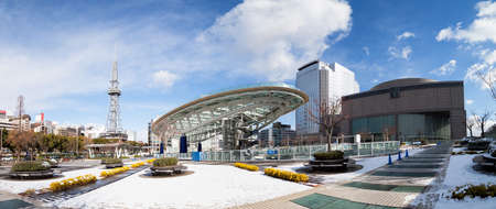 Winter of Oasis 21 and TV Tower in Sakae. Oasis 21 is a modern facility located adjacent to Nagoya TV Tower in Sakae.