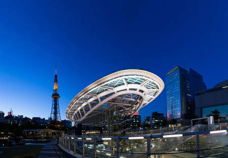 NAGOYA JAPAN - April 22, 2016:Oasis 21 and TV Tower in Sakae. Oasis 21 is a modern facility located adjacent to Nagoya TV Tower in Sakae. Editorial