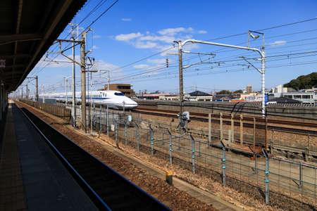 Nagoya, JAPAN - Mar 11, 2017 : A Shinkansen bullet train in Japan., Motion blur of a Shinkansen modern high speed train in Nagoya,Japan.