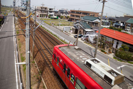 NAGOYA, JAPAN - April 16, 2016: Meitetsu local train on Toyohashi Line in Japan.
