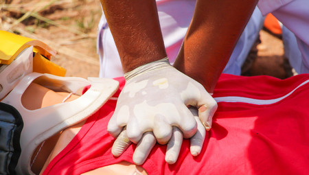 reanimate: Rescuer CPR, Training for safe life. Stock Photo