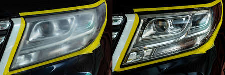 Polishing the optics of car headlamps ,Effect Before and After the effect of polishing Stok Fotoğraf - 117873062
