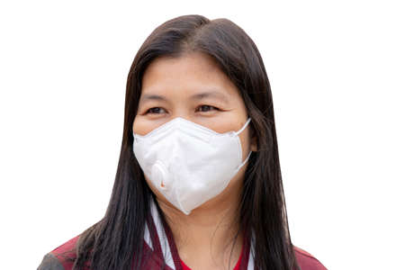 woman with dust protection mask ( Safety Mask )on a white background