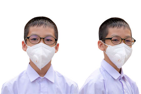 The boy with dust protection mask ( Safety Mask )on a white background