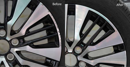 Repairing alloy wheels with metal shadows, before repairing and after repairing Stok Fotoğraf