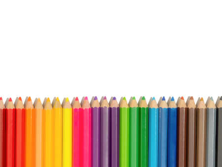 Color pencils with copy space on isolated white background