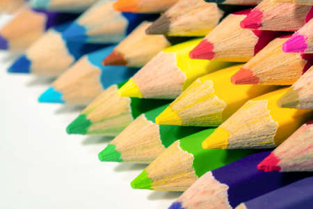 select focus, close up ,Color pencils with copy space on isolated white background