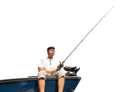 Mature man on a motor boat. Fishing,on white background ,clipingpath