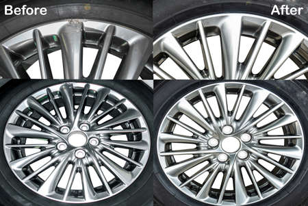 Wheel Hyper color ,Repairing alloy wheels with metal shadows, before repairing and after repairing