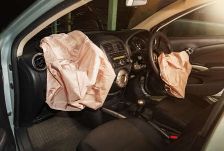 Airbags safety , Airbag exploded at a car accident. Car after an accident. Stock Photo