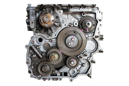 Automotor in der Garage zur Wartung. Reparaturservice, auf weißem Hintergrund Standard-Bild