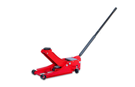 Red hydraulic  floor jack isolated on white background