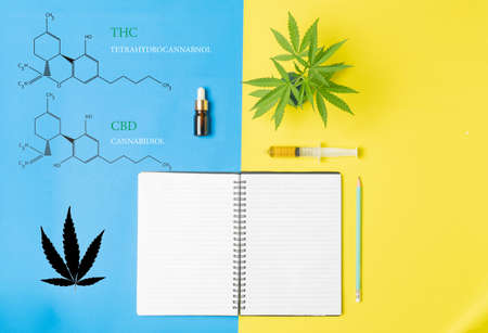 Medicinal cannabis with extract oil in a bottle ,chemical formula of Marijuana Imagens