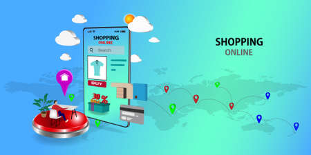 Shopping Online on Website or Mobile Application  ,Vector