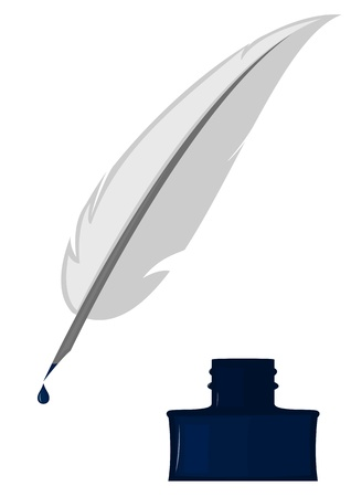 Inkwell with pen on white background Vector