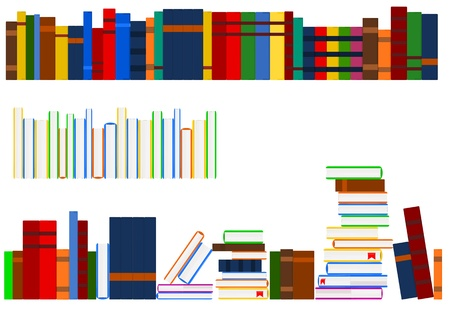 shelf with books: Series of books Illustration