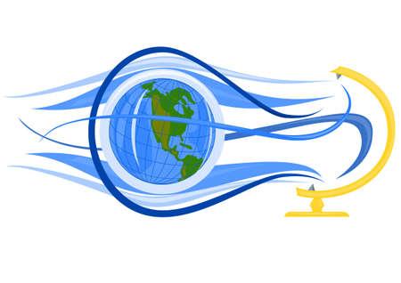 Globe flying Illustration