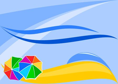 Abstract beach with umbrellas