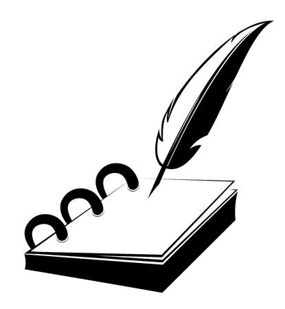 Ring notitieblok met ganzenveer in illustratie ontwerp Vector Illustratie