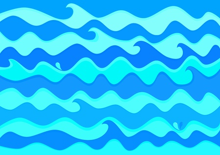 Abstract illustration drawing waves on the sea surface