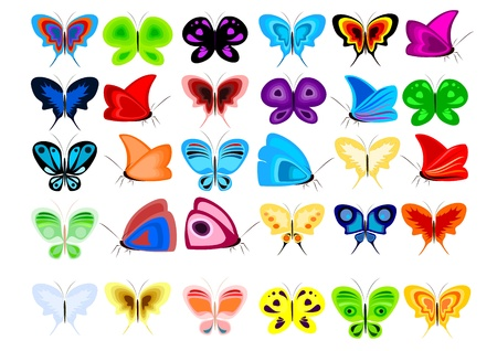 A set of colorful butterflies in the illustration
