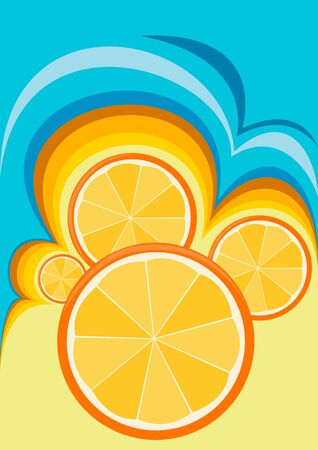 sectional: Illustration abstraction with a motif of oranges