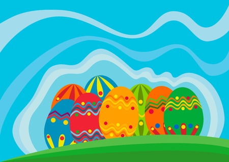 Illustration of Easter eggs and ribbons