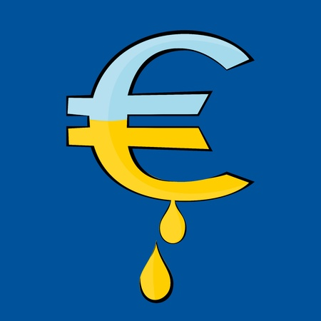 The Euro symbol from which the gold dripping drops Illustration