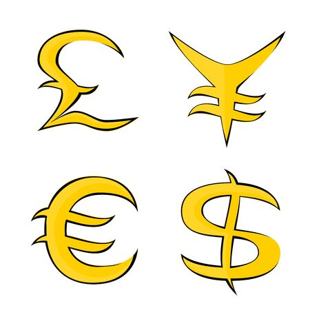Stylized illustration images of different currencies Illustration