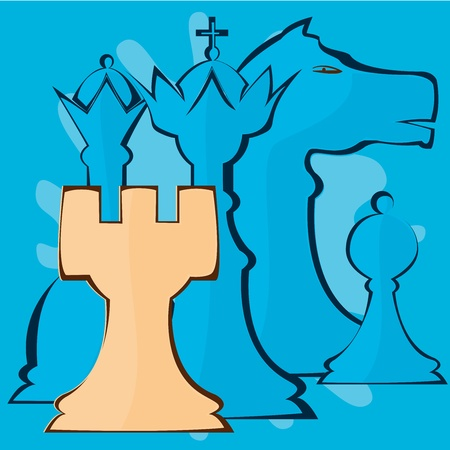 Illustration image of chess pieces Vector