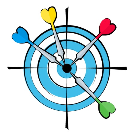 A vector image dartboard  with four arrows in the center. Stock Vector - 13090622