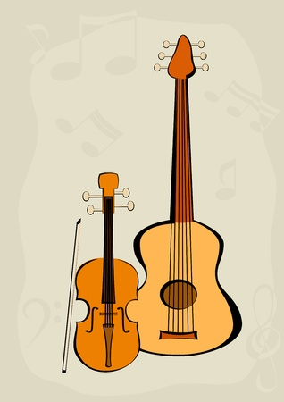 songbook: Violin, quitar and notes