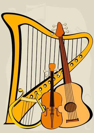 Violin, quitar, lyre, harp and notes Illustration