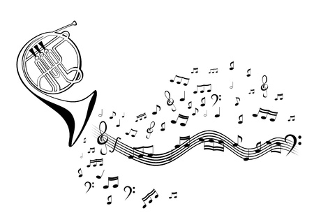 Notes and french horn Stock Vector - 13409017