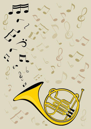 French horn and notes Vector