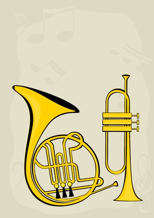 French horn, trumpet and notes Vector