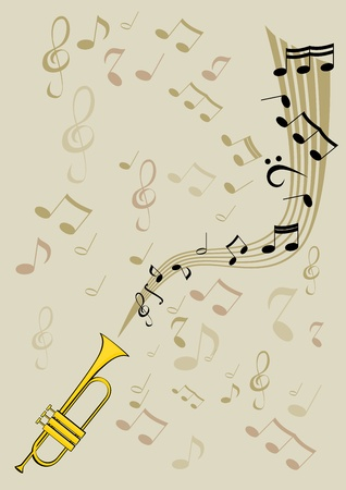Trumpet and notes Illustration