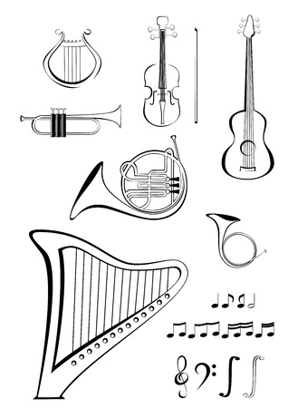 Violin, quitar, lyre, French horn, trumpet, harp and notes Vector