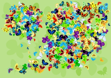 Vector image with butterflies. Vector