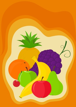 Vector image - banana, pineapple, orange, grapes, apple, pear