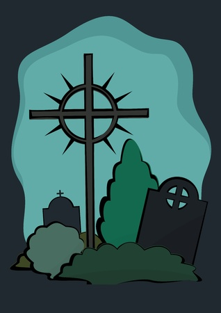 Tombstones with Cross on an illustration. Illustration