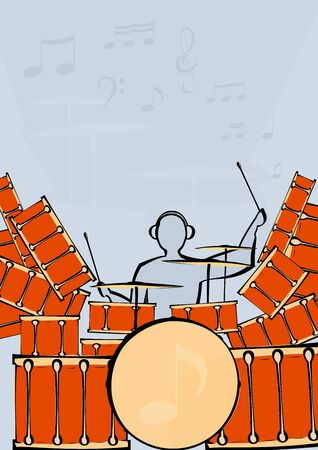image of a large drum kit and drummer. Illustration