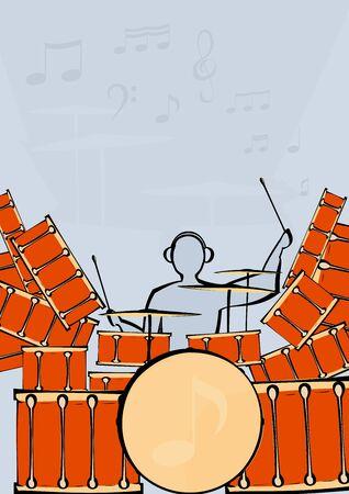 image of a large drum kit and drummer. Illustration