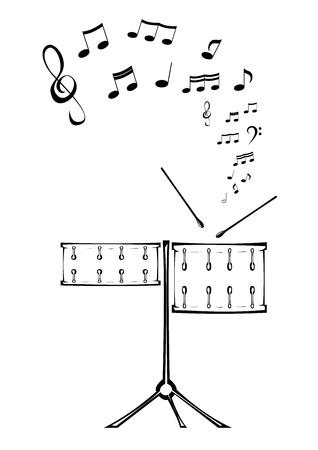 Imagen en blanco y negro de dos tambores con notas. Ilustración de vector