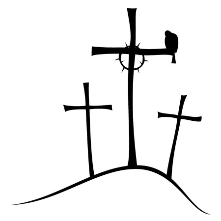 crucify: The three crosses on Golgotha, crown of thorns and doves. Illustration