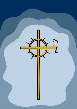 Dove sitting on a cross with a crown of thorns. Vector