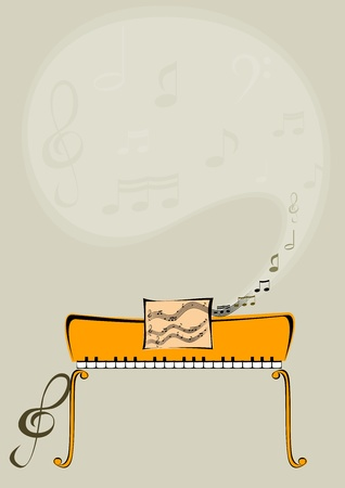 Abstract image with piano notes. Vector