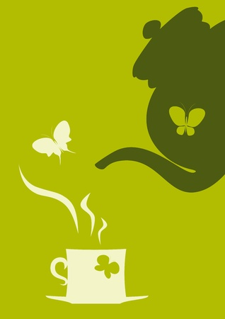 Butterflies, teapot and cup of tea.